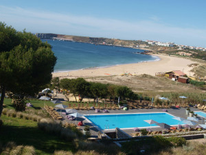 Utsikt fra frokostbufeen i 2.etg på Martinhal Beach Hotel & Resort i Algarve, Portugal. Foto: Cristina Maria Solem